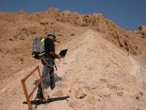 Ground Penetrating Radar survey of the Roman ramp leading up to the Archeological site of Mesada in southern Israel